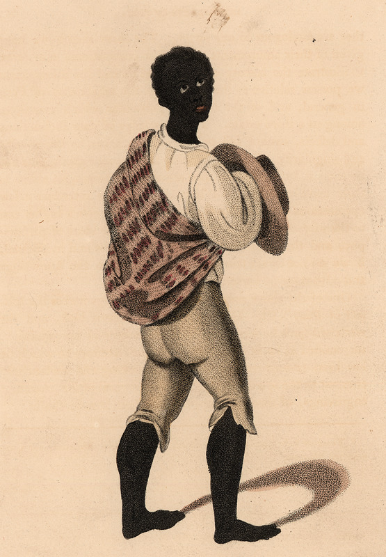 A hand colored engraving, captioned Bozal, or Raw-negro, residing in the district of Lima. A bozal was a slave exported directly from Africa to Peru.