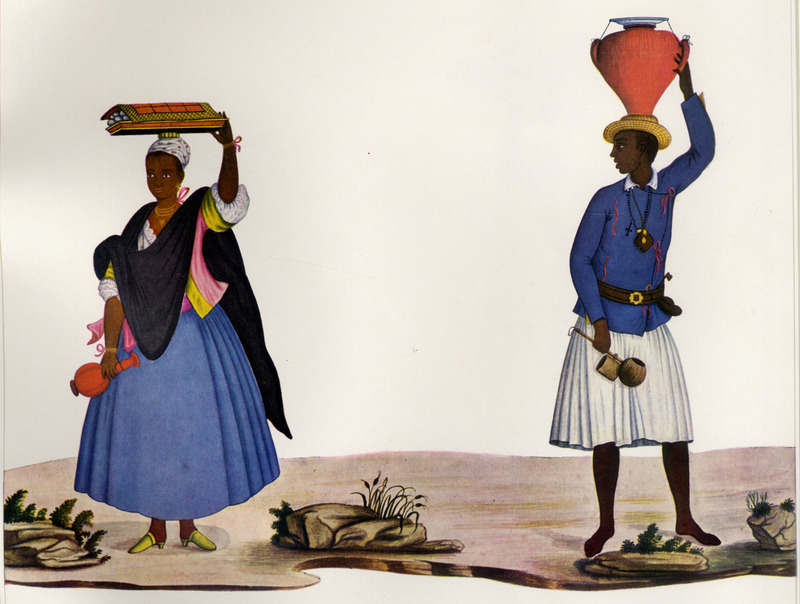 Woman on the left carries a wooden tray with unidentified merchandise on her head, and a pottery vessel in her right hand. The man on the right carries a large pottery jar with an unidentified liquid, and a shell container or measuring cup; he also wears a rosary around his neck. Born in Italy ca. 1740, Juliao joined the Portuguese army and traveled widely in the Portuguese empire; by the 1760s or 1770s he was in Brazil, where he died in 1811 or 1814. For a detailed analysis and critique of Juliao's figures as representations of Brazilian slave life, as well as a biographical sketch of Juliao and suggested dates for his paintings, see Silvia Hunold Lara, Customs and Costumes: Carlos Juliao and the Image of Black Slaves in Late Eighteenth-Century Brazil (Slavery & Abolition, vol. 23 [2002], pp. 125-146).