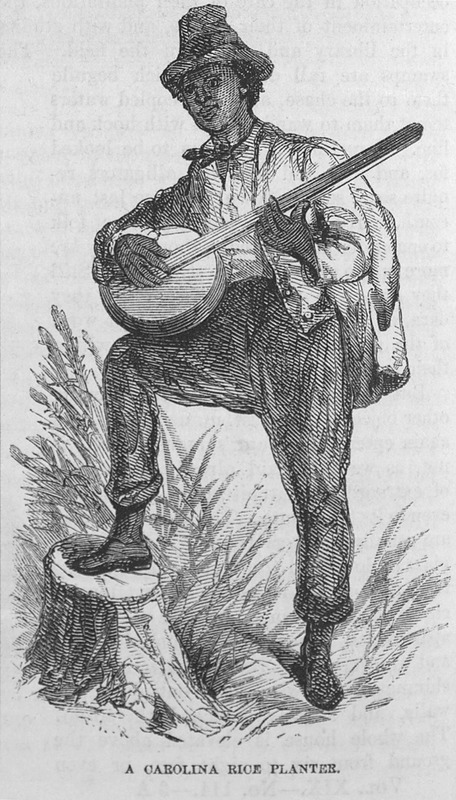 "This image depicts a rice planter playing a banjo standing up with one leg on a log in Carolina. It accompanies an article by T. Addison Richards called ""The Rice Lands of the South"" (pp. 721-38). Thomas Addison Richards (1820–1900) was a British landscape artist, who migrated with his family to the United States in 1831. The family first settled in New York, then South Carolina and finally Georgia by 1837. Richards made a career of sketching Georgia's scenery. Harper's Magazine (also called Harper's) is a monthly magazine of literature, politics, culture, finance and the arts."