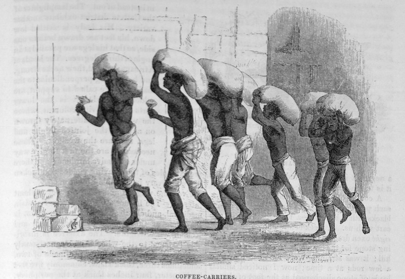 "This image shows enslaved porters carrying large sacks of coffee on top of their heads in Brazil. Ewbank explained how ""every gang of coffee-carriers has a leader who commonly shakes a rattle, to the music of which his associates behind him chant. The load, weighing 160 lbs., rests on the head and shoulders. . . The average life of a coffee-carrier does not exceed ten years. In that time the work ruptures and kills them"" (p. 728). Thomas Ewbank (1792–1870) was an English writer on practical mechanics. In 1845–1846, he traveled to Brazil and on his return published an account of his travels. He was then appointed United States Commissioner of Patents by President Taylor in 1849. Harper's Magazine (also called Harper's) is a monthly magazine of literature, politics, culture, finance and the arts. A reversed and somewhat modified version of this engraving is published in Daniel P. Kidder, Brazil and the Brazilians (New York and Philadelphia, 1857, p. 29; also later editions) who also described coffee-carriers he witnessed in Rio in 1857."