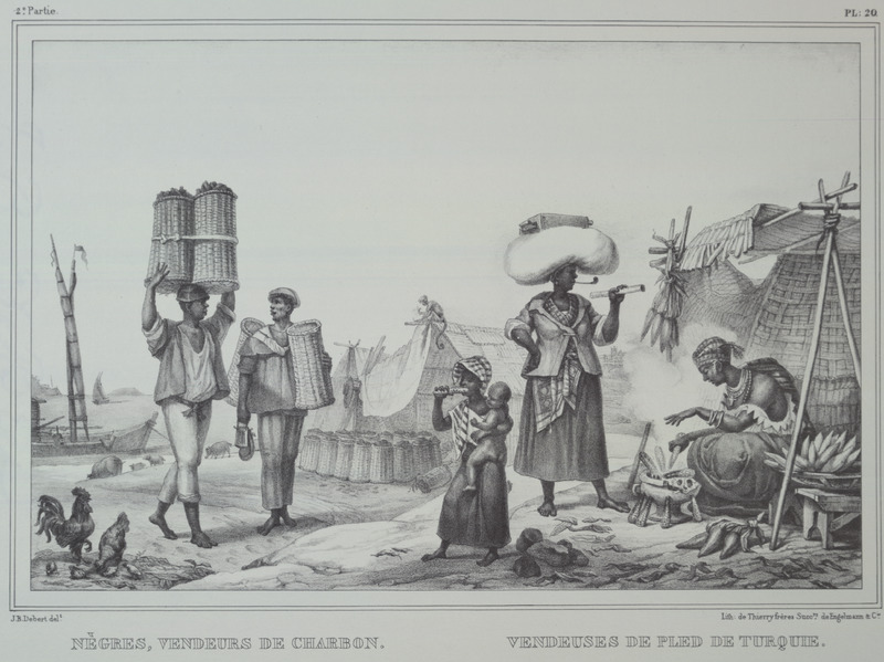 Caption, (left) negres vendeurs de charbon (sellers of coal); (right) vendeuses de fled [or pled] de Turquie (right); males carrying coal in baskets and women selling some type of vegetable; one of the women holds pipe in her mouth. The engravings in this book were taken from drawings made by Debret during his residence in Brazil from 1816 to 1831. For watercolors by Debret of scenes in Brazil, some of which were incorporated into his Voyage Pittoresque, see Jean Baptiste Debret, Viagem Pitoresca e Historica ao Brasil (Editora Itatiaia Limitada, Editora da Universidade de Sao Paulo, 1989; a reprint of the 1954 Paris edition, edited by R. De Castro Maya).