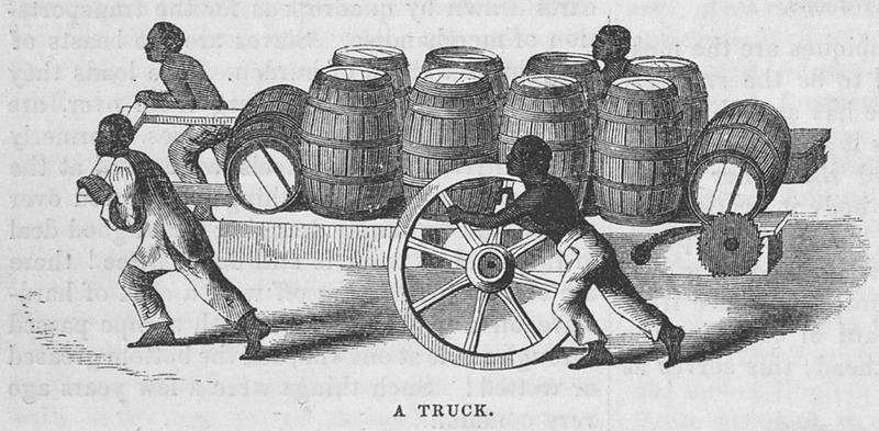 "This illustration shows four men pushing and hauling a cart filled with barrels or hogsheads in Brazil. In the accompanying article, Ewbank explained how these trucks or carts ""are as heavily built and ironed as brewers' drays, which they resemble, furnished with winches in front, to raise heavy goods. Each is of itself sufficient for any animal below an elephant to draw; and yet loads, varying from half a ton to a ton, are dragged on them by four Negroes. Two strain at the shafts and two push behind, or, what is quite as common, walk by the wheels and pull down the spokes. . . The annexed is a sketch of one of those trucks, laden with ten barrels of. . . flour, which the four slaves thus brought over a mile"" (p. 727). Thomas Ewbank (1792–1870) was an English writer on practical mechanics. In 1845–1846, he traveled to Brazil and on his return published an account of his travels. He was then appointed United States Commissioner of Patents by President Taylor in 1849. Harper's Magazine (also called Harper's) is a monthly magazine of literature, politics, culture, finance and the arts."
