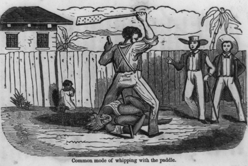 Captioned Common mode of whipping with the paddle, this illustration is from an anti-slavery tract. In his The Slave Community: Plantation Life in the Antebellum South (New York, 1972) John Blassingame describes punishments meted out by cruel masters; black men, he writes, were bent over barrels or tied down to stakes while paddles with holes in them broke blisters on their rumps (p.163).