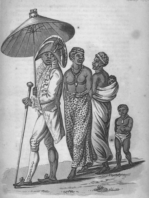Captioned A Negro King full dressed in Monmouth street cloaths [sic] with his wives and children, shows the king in European regalia carrying an umbrella and his staff of office, followed by two women (one carrying an infant on her back), and a small child ( wearing an amulet around his/her neck). The author writes that on November 12, 1805, The prince of Marabou . . . paid us a visit, and the captain presented him with an old cocked hat . . . . We found he owned . . . fifty slaves, and was on the point of commencing a war for the express purpose of liquidating the debt [by acquiring captives]. . . . I have given him a drawing of him, exactly as he was dressed (p. 15). Spilsbury, a surgeon aboard the Favourite, made the various sketches from which the accompanying engravings have been produced . . . the drawings and portraits were made on the spot (pp. iii-iv).