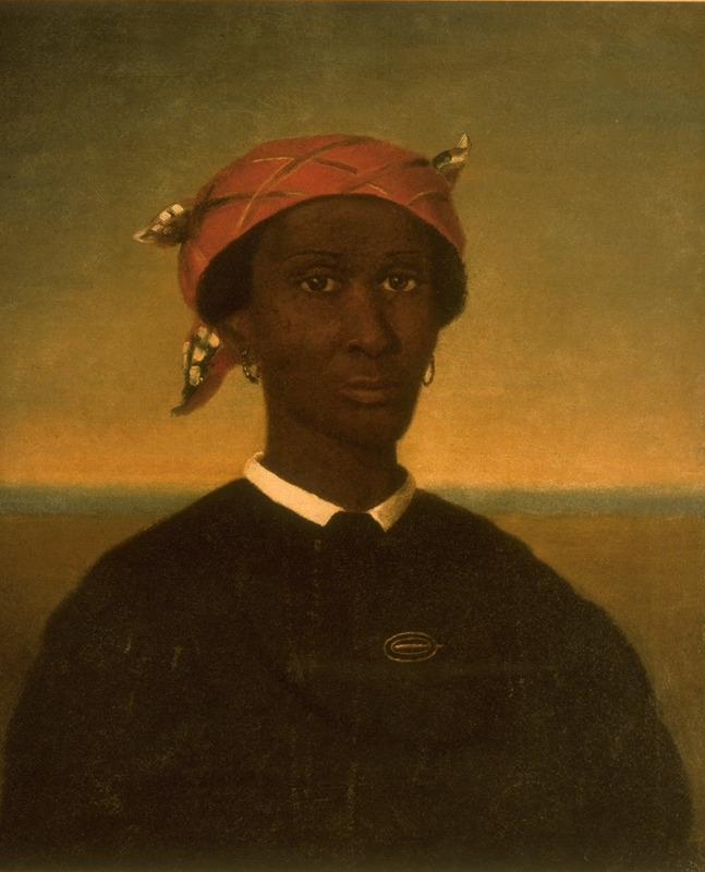 Oil painting showing upper torso and head of female household servant, wearing the mandatory tignon or kerchief. The subject is only identified as a maid of the Douglas family in New Orleans. A New Orleans city ordinance required all black female residents to wear a kerchief . . . over their heads (Campbell and Rice, p. x).