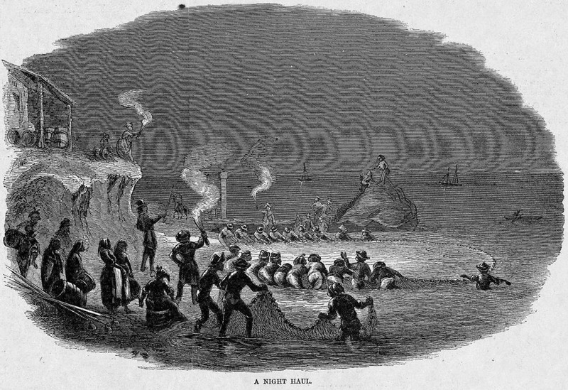 This illustration shows men hauling in the nets from shore, while women with baskets observe the scene at a fishery near Chowan county. This scene took place at an annual fishing festival at Albermarle Sound beach in North Carolina. Harper's Weekly: A Journal of Civilization was an American political magazine based in New York City and published by Harper & Brothers from 1857 until 1916. It featured foreign and domestic news, fiction, essays on many subjects and humor, alongside illustrations. It covered the American Civil War extensively, including many illustrations of events from the war.