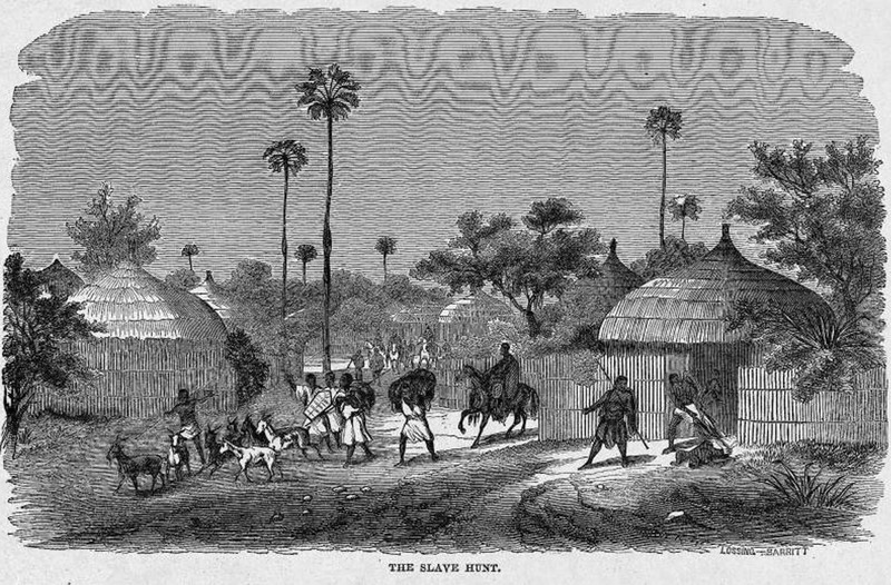 This image depicts soldiers from the Sokoto caliphate raiding a village to capture slaves in the Central Savanna region. This picture accompanies an article on the American edition of Barth's Travels and Discoveries in North and Central Africa (Philadelphia, 1859). Heinrich Barth (1821–1865) was a German explorer and scholar of North Africa. He spoke Arabic, Fulani, Hausa and Kanuri, meaning he carefully documented the details of the cultures he visited. He traveled through the Western and Central Savana region between 1850 and 1855, which he published in a five five-volume account in both English and German. In 1853, Barth and Ali Babba bin Bello, the Sultan of Sokoto, negotiated an extensive trade agreement.  Harper's Weekly: A Journal of Civilization was an American political magazine based in New York City and published by Harper & Brothers from 1857 until 1916. It featured foreign and domestic news, fiction, essays on many subjects and humor, alongside illustrations. It covered the American Civil War extensively, including many illustrations of events from the war.