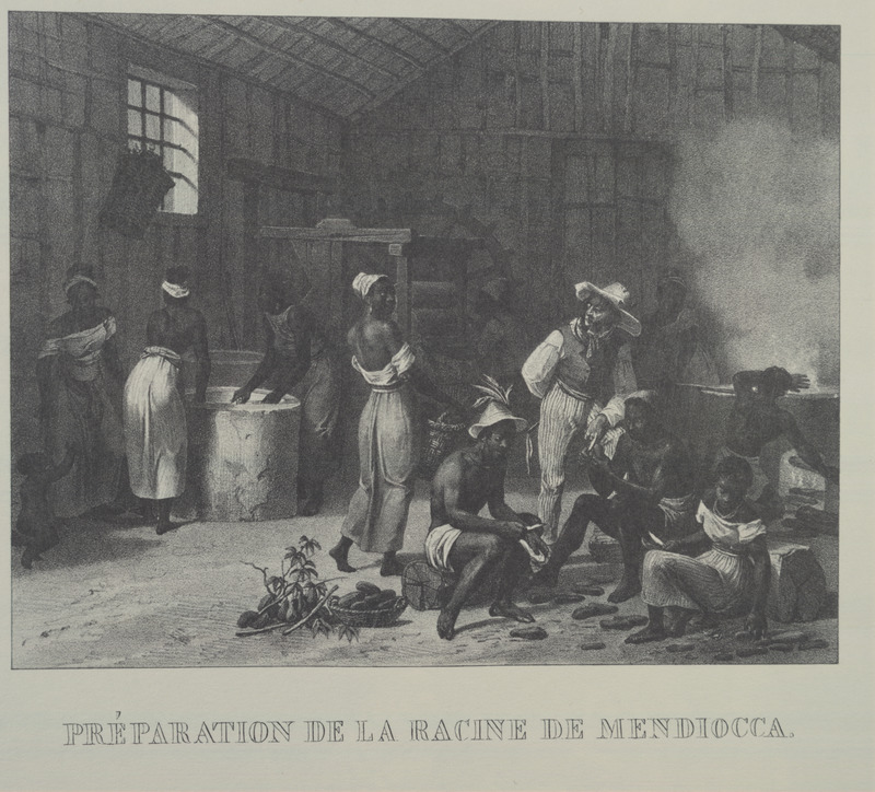 Caption, préparation de la racine de mendiocca [mandioca] (preparing the cassava/manioc root), men and women scraping, washing, boiling, etc. this staple food. For an analysis of Rugendas' drawings, as these were informed by his anti-slavery views, see Robert W. Slenes, African Abrahams, Lucretias and Men of Sorrows: Allegory and Allusion in the Brazilian Anti-slavery Lithographs (1827-1835) of Johann Moritz Rugendas (Slavery & Abolition, vol. 23 [2002], pp. 147-168).