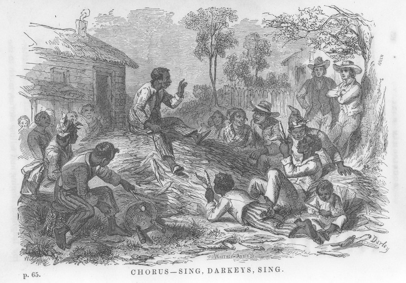 Portrays a corn-shucking or husking, which takes place at night and which the author describes as follows: The corn was piled in large heaps before the row of cabins . . . . Around the large corn heaps were seated over two hundred men and women (many of whom were from neighboring plantations), tearing off the husks and throwing the ears into separate piles; and in the midst of their employment all were chattering, laughing, singing and telling stories . . . . On the top of one of the heaps was mounted Uncle Cato, one of the principle slaves . . . . He was noted for his talent of improvisation. He would sing one or more lines of a song and the chorus would be repeated by all the others . . . . (pp. 65-66). The author travelled through the U.S. South, but Buckingham Hall may be a fictitious name.