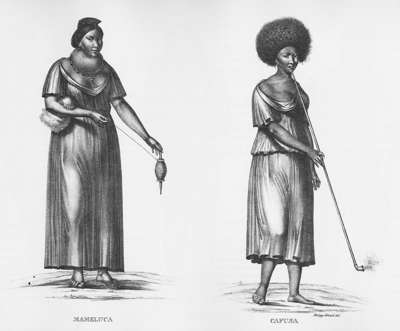 Left: Mameluca, the offspring of a European/Caucasian father and an indigenous mother, shown spinning cotton, using a spindle-whorl; right, Cafusa, intermediate race between Indian and black, smoking a very long-stemmed pipe.