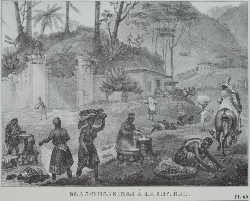 Shows a number of women, some with children, washing clothes by a mountain stream or river; plantation manor house in background. The engravings in this book were taken from drawings made by Debret during his residence in Brazil from 1816 to 1831. For watercolors by Debret of scenes in Brazil, some of which were incorporated into his Voyage Pittoresque, see Jean Baptiste Debret, Viagem Pitoresca e Historica ao Brasil (Editora Itatiaia Limitada, Editora da Universidade de Sao Paulo, 1989; a reprint of the 1954 Paris edition, edited by R. De Castro Maya).