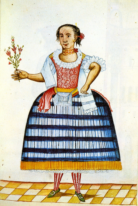 Identified as Mulatta, the drawing shows woman dressed in a billowing skirt, patterned sleeveless blouse, stockings, and shoes with buckles. This and hundreds of other drawings were done by unidentified Native Americans during the 1780s and were commissioned by the Spanish Bishop Baltazar Jaime Martinez Companon during his pastoral visit to the region of Trujillo in northern Peru. The drawings, spread over nine volumes, are of Spaniards, Native Americans, plants and animals, as well plans and maps of the region. Only Vol. 2 contains a few pictures of blacks, the index to the volume giving very sparse information on each drawing. (See other images Trujillo on this website.)