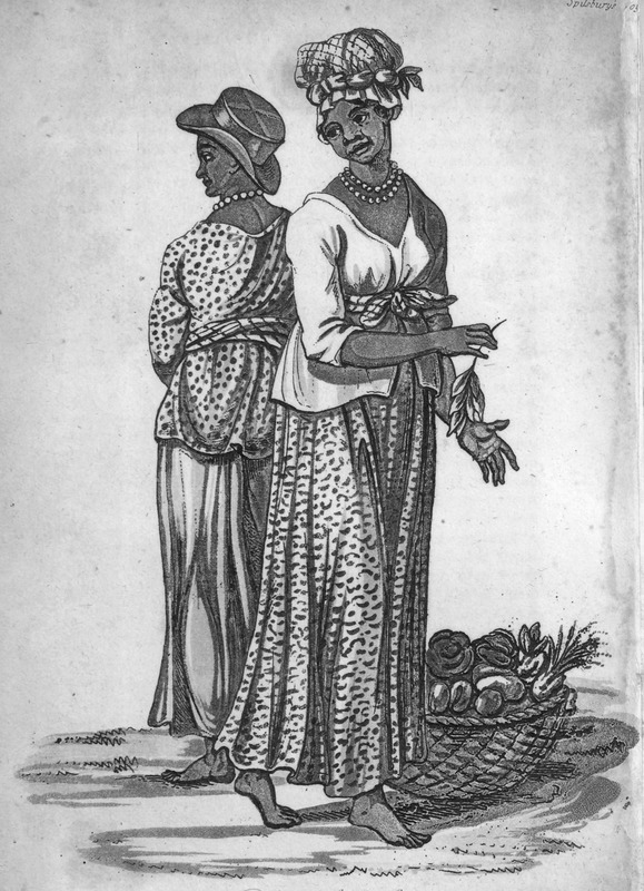 Caption, Negresses of Sierra Leone shows two women, fully dressed with long skirts and blouses, both wearing bead necklaces; one has an elaborate head-tie, the wears what appears to be a European top hat. The author, a surgeon aboard the Favourite, made the various sketches from which the accompanying engravings have been produced . . . the drawings and portraits were made on the spot (pp. iii-iv).