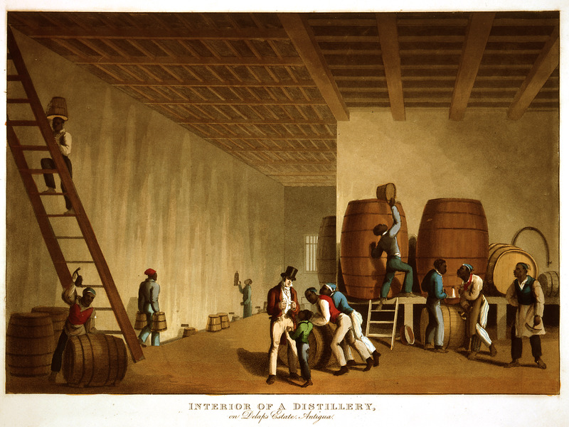 This image shows a white overseer managing enslaved people filling hogsheads with rum and a cooper making barrels. Little is known of William Clark although he was probably a manager or overseer of plantations in Antigua. The ten prints in the collection were based on his drawings, converted into prints by professional printmakers. All of the prints are shown and extensively described in T. Barringer, G. Forrester, and B. Martinez-Ruiz, Art and Emancipation in Jamaica: Isaac Mendes Belisario and his Worlds (New Haven: Yale Center for British Art in association with Yale University Press, 2007), pp. 318-321.