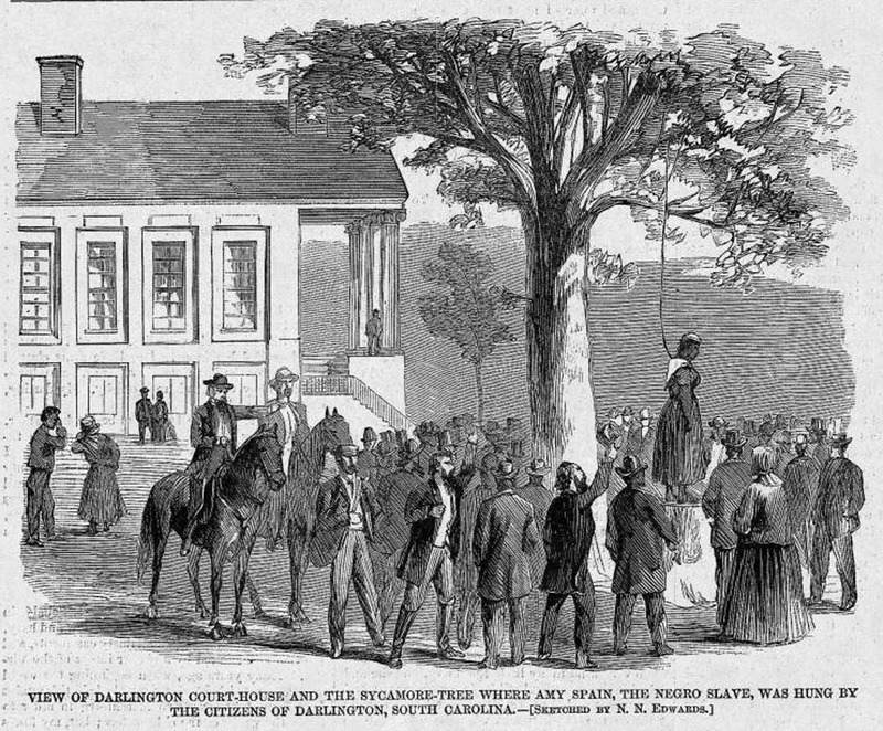 "This image shows the hanging of Amy Spain in front of a large crowd gathered before a courthouse. Amy Spain's crime was that she had yelled, ""Bless the Lord, the Yankees have come!"" The author of the Harper's Weekly article hailed her as a martyr to the cause of freedom for her people. Harper's Weekly: A Journal of Civilization was an American political magazine based in New York City and published by Harper & Brothers from 1857 until 1916. It featured foreign and domestic news, fiction, essays on many subjects and humor, alongside illustrations. It covered the American Civil War extensively, including many illustrations of events from the war."