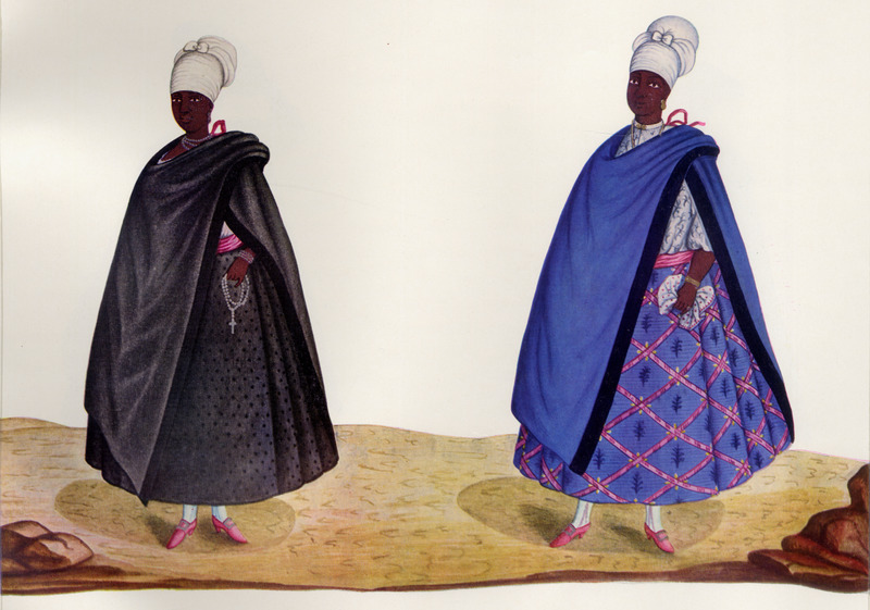 The occupations of these women are not identified; the author draws attention to their clothing as variants of a number of styles worn by slave women in Rio.  Born in Italy ca. 1740, Juliao joined the Portuguese army and traveled widely in the Portuguese empire; by the 1760s or 1770s he was in Brazil, where he died in 1811 or 1814. For a detailed analysis and critique of Juliao's figures as representations of Brazilian slave life, as well as a biographical sketch of Juliao and suggested dates for his paintings, see Silvia Hunold Lara, Customs and Costumes: Carlos Juliao and the Image of Black Slaves in Late Eighteenth-Century Brazil (Slavery & Abolition, vol. 23 [2002], pp. 125-146).