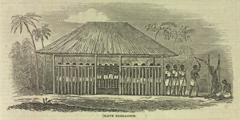 "Barracoon with thatched roof with captured slaves inside, guards outside and several people being whipped. The Illustrated London News describes a raid by the British Navy in February 1849 on Spanish slave trading stations where three factories were destroyed along the Gallinas [Kerefe] river in Sierra Leone in the Upper Guinea Coast region. The engraving shows ""a barracoon at the back of one of the factories in the creek; here flogging is an hourly occupation, and the sufferers frequently expire under the lash. The slaves are chained by the neck and legs; and except when marched from one barracoon to another, on chance of shipment, they know no change for a year or two."" For details on this raid, see also W. E. F. Ward, The Royal Navy and the Slavers (New York, 1970), pp. 182-85. A colored version of this illustration (which crops off part of the figure being whipped and the two seated on the ground [on the right]) was done by an anonymous nineteenth century artist. It is located in Bureau du Patrimoine du Conseil Regional de la Martinique, and was published in the exhibition catalog, Les Anneaux de la Memoire: Nantes-Europe-Afriques-Ameriques, Chateau des Ducs de Bretagne. Nantes, France, Dec. 1992-Feb. 1994."