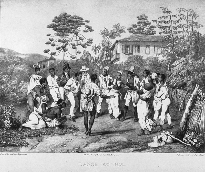 Caption, danse batuca [Batucada]; men and women dancing in rural (plantation?) area. The dance is very much Afro-Brazilian. For an analysis of Rugendas' drawings, as these were informed by his anti-slavery views, see Robert W. Slenes, African Abrahams, Lucretias and Men of Sorrows: Allegory and Allusion in the Brazilian Anti-slavery Lithographs (1827-1835) of Johann Moritz Rugendas (Slavery & Abolition, vol. 23 [2002], pp. 147-168).