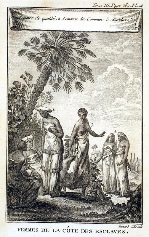 Caption, Femmes de la cote des Esclaves (Women of the Slave Coast). Numbers on top: 1) Femmes de qualité;2) Femmes du Commun; 3) Esclave.