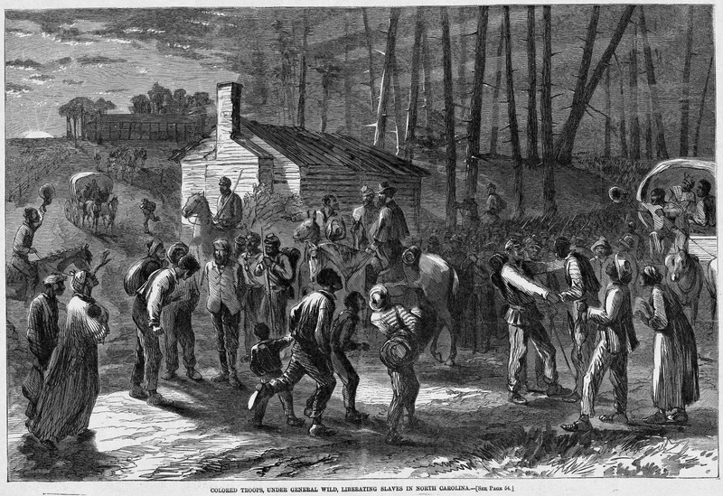 This image depicts members of Wild's battalion freeing slaves from the Terrebee plantation. These slaves were accused of taking valuable animals from the farm. Harper's Weekly: A Journal of Civilization was an American political magazine based in New York City and published by Harper & Brothers from 1857 until 1916. It featured foreign and domestic news, fiction, essays on many subjects and humor, alongside illustrations. It covered the American Civil War extensively, including many illustrations of events from the war.