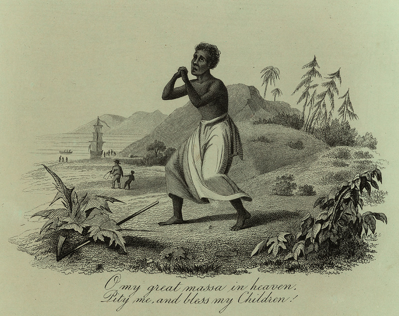 One of several artist-created illustrations not uncommonly reproduced in the British antislavery/abolitionist literature of the period. This shows a black woman on a generalized West Indian island on slightly bended knee in position of supplication. The poem extract underneath may have been taken from a poem by William Cowper (deceased 1800), the celebrated English poet, who had lent his support to the British movement against the slave trade in the late eighteenth century, and was author of the famous poem used by this movement, The Negro's Complaint. See also images JCB_69-1068-1 and JCB_69-1068-3.