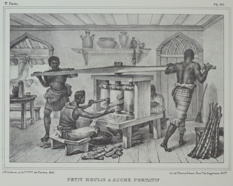 Caption: petit moulin a sucre portatif [small portable sugar mill]; two men turning the mill, two others feed the vertical rollers. The engravings in this book were taken from drawings made by Debret during his residence in Brazil from 1816 to 1831. For watercolors by Debret of scenes in Brazil, some of which were incorporated into his Voyage Pittoresque, see Jean Baptiste Debret, Viagem Pitoresca e Historica ao Brasil (Editora Itatiaia Limitada, Editora da Universidade de Sao Paulo, 1989; a reprint of the 1954 Paris edition, edited by R. De Castro Maya).