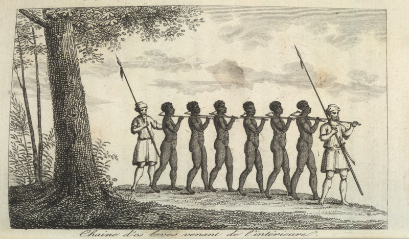 Caption, chaine d'esclaves venant de l'interieure (chain/coffle of slaves coming from the interior); shows six African men with two armed guards. Villeneuve lived in the Senegal region for about two years in the mid-to-late 1780s and made this drawing from his own observations. He provides a detailed description of the coffle and the movement of slaves from the interior to the coast: Every year the Mandingo traders, called slatèes or Sarakole [Sarakule, Sarracolet, etc.] Negroes, after having sold slaves in exchange for European goods, leave with necessary goods for the interior, toward Bambara country. The Mandingo slatèes often carry with them iron bolts of 15 to 18 inches long . . . . They cut pieces of a heavy wood, around 5 or 6 feet long, forked at one end so that the forked end can fit around the slave's neck. The two ends of the forked branch are drilled/pierced so as to permit the iron bolt, held at one end by a head, and fixed to the other end by a flexible iron blade [which passes] through a hole in the bolt . . . . When all the slaves are run through in this fashion and the traders want to start the march to the coast, they arrange the captives in a single file. One of the traders puts himself at the head of the line, loading on his shoulder the handle of the forked branch of the first black; each slave carries on his shoulder the handle of the forked branch of the person behind him . . . . During the entire route, the fork is never removed from the slaves' necks, and at the arrival point, as at the departure, the traders take great care to check if the iron bolts are in good working condition. It is thus that five or six armed traders, without fear, can succeed in conveying coffles of 50 slaves, and even more, from the interior to the European coastal factory. . . . (Villeneuve, vol. 4, pp. 39-43; our translation). Jean Baptiste Lèonard Durand, who had been governor of the isle of St. Louis, ca. 1785-86, wrote: The commerce is carried on by the Negro co
