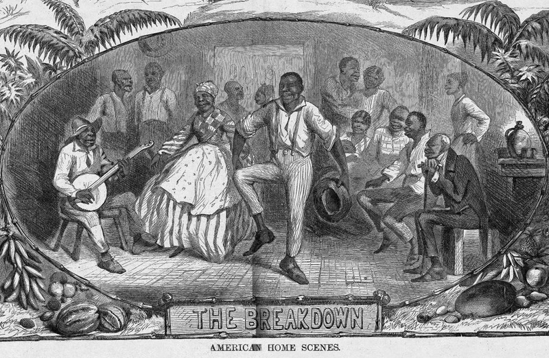 This image shows an enslaved man dancing in front of a crowd at an unidentified place in the U.S. South. On the left, a man plays a banjo. Harper's Weekly: A Journal of Civilization was an American political magazine based in New York City and published by Harper & Brothers from 1857 until 1916. It featured foreign and domestic news, fiction, essays on many subjects and humor, alongside illustrations. It covered the American Civil War extensively, including many illustrations of events from the war.