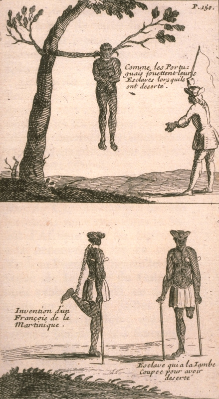 Captions, (top), comme les Portugais fouettent leurs esclaves lorsquils ont desertè (how the Portuguese flog slaves who have escaped); (bottom left), invention d'un Francois de la Martinique (invention of a Frenchman of Martinique); (bottom right), esclave qui a la jambe coupè pour avoir desertè (slave who had his leg amputed for having escaped). In a discussion of slavery in Brazil and the miserable state of the enslaved, Froger talks about runaway slaves and the punishments they receive when captured. The following translation appears in the 1698 English edition: . . . if their masters once catch them, they give them no quarter; for they hang a great iron collar about their necks on each side whereof there are hooks, whereunto is fastened a stake or branch of a tree, with which they thrash them at pleasure. . . . But if it so happen that after this sort of chastisement they relapse again into the same fault, they . . . cut off one of their legs, nay, and sometimes hang them for an example, of terrour [sic] unto others . . .. I knew one [slave master] in Martinico who being of a compassionate nature could not find in his heart to cut off his slaveís leg, who had run away four or five times, but to the end he might not again run the risquè of losing him altogether, he bethought of fastening a chain to his neck, which trailing down backwards catches up his leg behind, as may be seen by the cut [engraving]. And this, in the space of two or three years does so contract the nerves that it will be impossible for this slave to make use of his leg. And thus, without running the hazard of this unhappy wretchís death, and without doing him any mischief, he thereby deprived him of the means to make his escape (pp. 119-120).