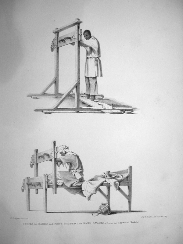 Caption, stocks for hands and feet, with bed and hand stocks. A man and woman in stocks; in the lower right hand corner is a calabash water container (called too-too in Trinidad). Bridgens notes this is a common punishment for the smaller delinquencies, which are not judged deserving of the lash. A sculptor, furniture designer and architect, Richard Bridgens was born in England in 1785, but in 1826 he moved to Trinidad where his wife had inherited a sugar plantation, St. Clair. Although he occasionally returned to England, he ultimately lived in Trinidad for seven years and died in Port of Spain in 1846. Bridgens' book contains 27 plates, thirteen of which are shown on this website. The plates were based on drawings made from life and were done between 1825, when Bridgens arrived in Trinidad, and 1836, when his book was published. Although his work is undated, the title page of a copy held by the Beinecke Rare Book Room at Yale University has a front cover with a publication date of 1836, the date usually assigned to this work by major libraries whose copies lack a title page. Bridgens' racist perspectives on enslaved Africans and his defense of slavery are discussed in T. Barringer, G. Forrester, and B. Martinez-Ruiz, Art and Emancipation in Jamaica: Isaac Mendes Belisario and his Worlds (Yale University Press, 2007), pp. 460-461. Bridgensí life is discussed extensively along with discussion of his drawings and presentation of many details on slave life in Trinidad in Judy Raymond, The Colour of Shadows: Images of Caribbean Slavery (Coconut Beach, Florida: Caribbean Studies Press, 2016). Raymondís book, which is an essential source for any study of Bridgens, also includes a number of unpublished sketches of Trinidadian slave life. See also Brian Austen, Richard Hicks Bridgens (Oxford Art Online/Grove Art Online).