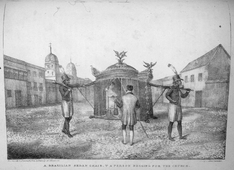 """This image shows a white woman being carried by two liveried male servants in Bahia. James Henderson (c. 1783-1848) was a British traveler who traveled all through Brazil between 1819 and 1820. He made all of his sketches from his observations. The Brazilian scholar, """"Gilberto Freyre writes: Within their hammocks and palanquins the gentry permitted themselves to be carried about by Negroes for whole days at a time, some of them travelling in this manner from one plantation to another, while others employed this mode of transport in the streets; when acquaintances met, it was the custom to draw up alongside one another and hold a conversation"""" (The Masters and the Slaves (New York, 1956), p. 409-410, 428)."""