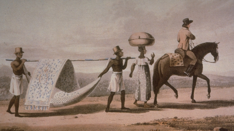 Caption, A Planter and his Wife on a Journey. Two slaves carrying a covered hammock while the planter rides his horse; a slave woman carrys their baggage on her head. The Brazilian scholar, Gilberto Freyre writes: Within their hammocks and palanquins the gentry permitted themselves to be carried about by Negroes for whole days at a time, some of them travelling in this manner from one plantation to another . . . . Nearly all [slaveholders] travelled by hammock . . . (The Masters and the Slaves [New York, 1956], pp. 409-410, 428). In the 2nd ed. (London, 1817), all images are in b/w. The Colonial Williamsburg Foundation (Williamsburg, Virginia) also has a copy of this print.