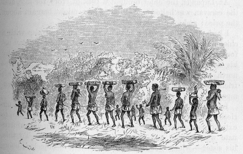 """Based on observations from July 1875, this image shows a coffle of men, women, and children with the adults linked by ropes or chains and carrying loads on their heads. Cameron described how he """"had camped in a village when a slave caravan approached; the village inhabitants immediately bolted into the village and closed the entrances. The place I had chosen from my camp was near the path, and the whole of the caravan passed on in front, the mournful procession lasting for more than two hours. Women and children, foot-sore and overburdened, were urged on unremittingly by their barbarous masters; and even when they reached their camp, it was no haven of rest for the poor creatures. They were compelled to fetch water, cook, build huts, and collect firewood for those who owned them"""" (p. 357). Verney Lovett Cameron (1844–1894) was the first European to cross equatorial Africa from sea to sea in 1875. His travel memoirs contain valuable suggestions for the opening up of the continent from north to south, including using the Great Lakes region to connect Cape Coast to Cairo."""
