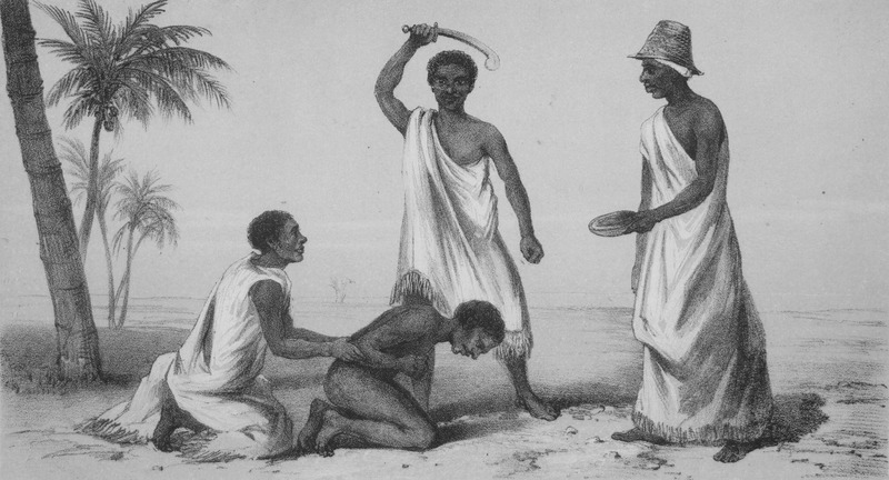 """This image depicts the sacrificing or execution of an enslaved man in the kingdom of Dahomey in the Bight of Benin region. Duncan does not refer to this illustration in particular, but in Vol. 1 he described """"the bodies of people who had been executed,"""" and noted that """"decapitation is the favourite mode of execution in Abomey,"""" the capital of Dahomey (p. 219-220). John Duncan (1805–1849) was a Scottish traveller in Africa and member of the Royal Geographical Society. He travelled through Dahomey territory in 1845. He returned home in 1846 after falling ill with malaria and having his leg amputated. Although the caption refers to the blood drinker, Duncan may have misunderstood what was taking place. Very rarely in sacrifices or ceremonies do the Dahomean practitioners of Vodun actually drink the blood. They were most often collecting it to pour it, usually from a gourd, onto ancestral shrines or shrines to members of the Vodun pantheon. Probably a better identification would be the blood server. More likely, this image represents a ritual specialist, who is collecting blood to be offered to an ancestral shrine or to a member of the Vodun pantheon. Numerous modern shrines throughout southern Benin contain iconographic representations of earlier (eighteenth through nineteenth centuries) ceremonies where human blood sacrifices were presented to the deity represented by the shrine."""