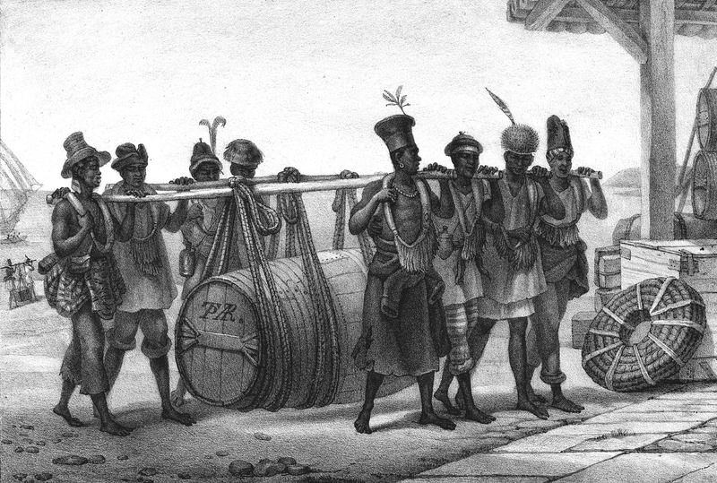 This illustration shows a group of eight men, dressed in various clothing styles, carrying a large hogshead slung from poles on their shoulders. The engravings in this book were taken from drawings made by Debret during his residence in Brazil from 1816 to 1831. See also, image kidder3 which is derived from the one shown here. For watercolors by Debret of scenes in Brazil, some of which were incorporated into his Voyage Pittoresque, see Jean Baptiste Debret, Viagem Pitoresca e Historica ao Brasil (Editora Itatiaia Limitada, Editora da Universidade de Sao Paulo, 1989; a reprint of the 1954 Paris edition, edited by R. De Castro Maya).