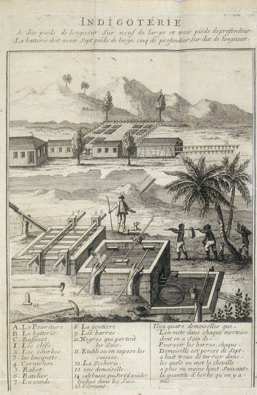 A detailed illustration, the caption identifying (by letter and number) various stages of production. Author identifies himself as an inhabitant of Limonade [parish], Departement du Cap, aux isles Francoises de l'Amerique.