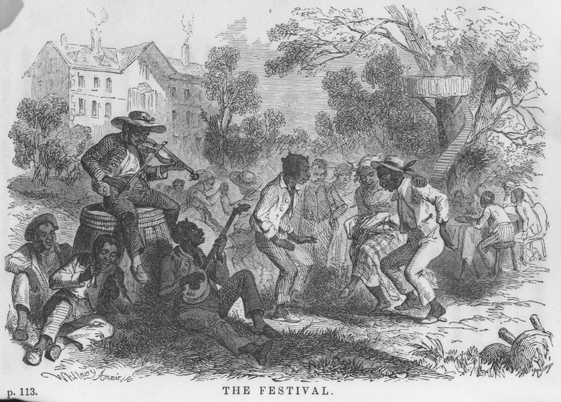 A festival held on the plantation in honor of the return of one of the white masters. Some people are shown dancing. The band leader is seated on top of the hogshead playing a fiddle; others are playing the banjo, bones, and drum and were seated around their leader, some on the ground and some on rude benches brought from the cabins (pp. 113-114). The author travelled through the U.S. South, but Buckingham Hall may be a fictitious name.