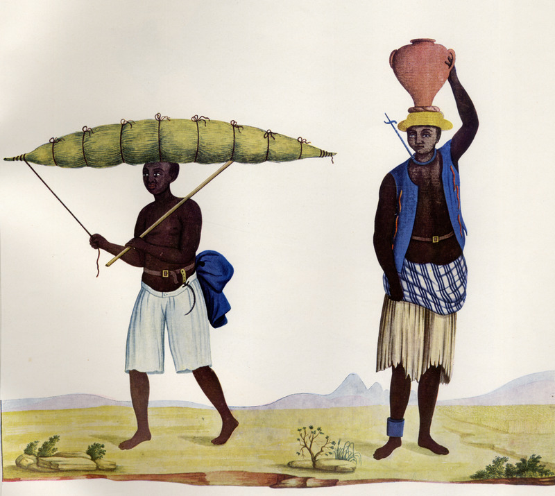 The man on the left is simply identified as a Black Seller of Capim, a type of grass or Guinea grass which he is carrying on his head; while the man on the right is specifically identified as a Slave Seller of Milk, and is shown with a pot of milk on his head; he is also wearing the iron collar and leg band that was placed on slaves who had a tendency to become fugitives. Born in Italy ca. 1740, Juliao joined the Portuguese army and traveled widely in the Portuguese empire; by the 1760s or 1770s he was in Brazil, where he died in 1811 or 1814. For a detailed analysis and critique of Juliao's figures as representations of Brazilian slave life, as well as a biographical sketch of Juliao and suggested dates for his paintings, see Silvia Hunold Lara, Customs and Costumes: Carlos Juliao and the Image of Black Slaves in Late Eighteenth-Century Brazil (Slavery & Abolition, vol. 23 [2002], pp. 125-146).