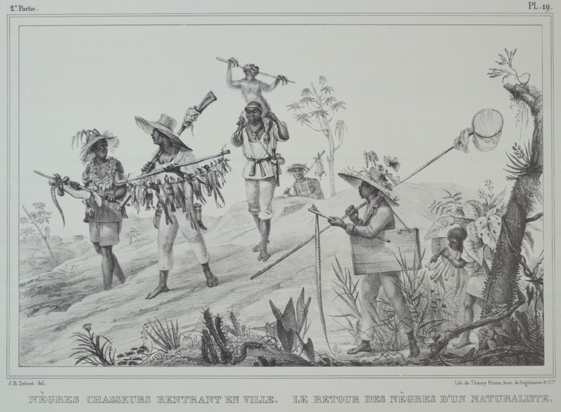 Caption, (left), negres chasseurs rentrant en ville (black hunters returning to town); (right), le retour des negres d'un naturaliste (the return of a naturalist's blacks). The engravings in this book were taken from drawings made by Debret during his residence in Brazil from 1816 to 1831. For watercolors by Debret of scenes in Brazil, some of which were incorporated into his Voyage Pittoresque, see Jean Baptiste Debret, Viagem Pitoresca e Historica ao Brasil (Editora Itatiaia Limitada, Editora da Universidade de Sao Paulo, 1989; a reprint of the 1954 Paris edition, edited by R. De Castro Maya).