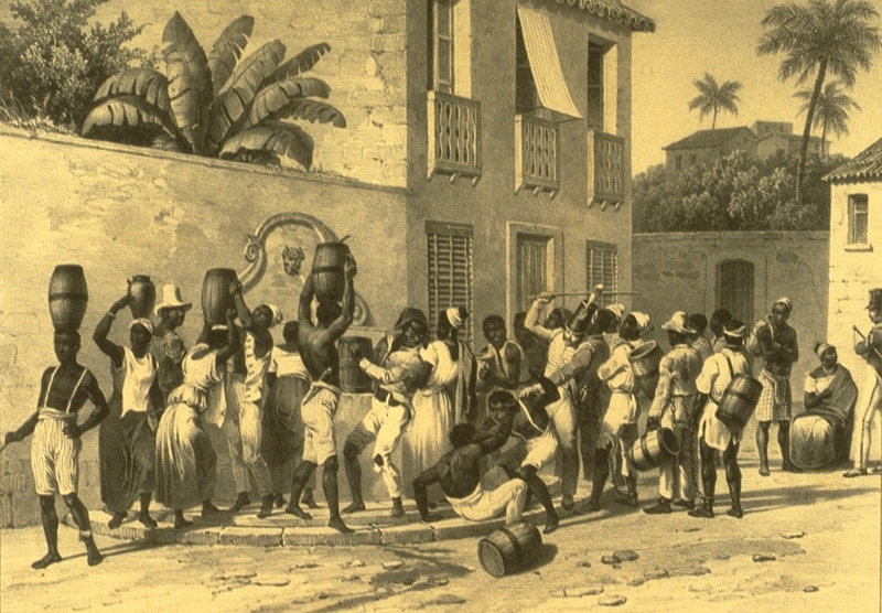 Caption: porteurs d'eau (water carriers), an urban scene showing water carriers filling their casks from a well. For an analysis of Rugendas' drawings, as these were informed by his anti-slavery views, see Robert W. Slenes, African Abrahams, Lucretias and Men of Sorrows: Allegory and Allusion in the Brazilian Anti-slavery Lithographs (1827-1835) of Johann Moritz Rugendas (Slavery & Abolition, vol. 23 [2002], pp. 147-168).