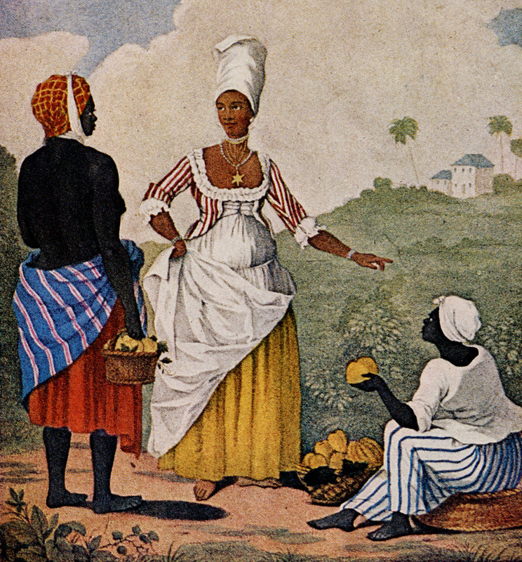 Titled by the artist, The Barbadoes Mulatto Girl, this engraved print shows an anonymous free woman of color (freedwoman) purchasing fruit/vegetables from enslaved vendors (see also, image NW0149-a ). Agostino Brunias (sometimes incorrectly spelled Brunyas, Brunais), a painter born in Italy in 1730 and came to England in 1758 where he became acquainted with William Young. Young had been appointed to a high governmental post in the Caribbean territories Britain had acquired from France, and in late 1764 Brunias accompanied Young to the Caribbean as his personal artist. Arriving at Barbados in early 1765 (where the sketch for the image shown here, perhaps for others as well, was probably done), Brunias stayed in the islands until around 1775, when he returned to England (exhibiting some of his paintings in the late 1770s) and visited the continent. He returned to the West Indies in 1784 and remained there until his death on the island of Dominica in 1796. Although Brunias primarily resided in Dominica he also spent time in St. Vincent, and visited other islands, including Barbados, Grenada, St. Kitts, and Tobago. See Lennox Honychurch, Chatoyer's Artist: Agostino Brunias and the Depiction of St Vincent, for what is presently the most informative and balanced discussion of Brunias and his romanticized and idyllic paintings of West Indian scenes and slave life (Jl of the Barbados Museum and Historical Society, vol. 50 [2004], pp.104-128); see also Hans Huth, Agostino Brunias, Romano (The Connoisseur, vol. 51 [Dec. 1962], pp. 265-269). A photograph of this print was given to Handler in the 1960s by the late Neville Connell, Director of the Barbados Museum. Four Brunias paintings, some containing elements of images shown on this website (including, for example, the slave woman in the lower right, above) can be seen on the website of the Peabody Museum of Archaeology and Ethnology at Harvard University. Another copy of The Barbadoes Mulatto Girl is held by the Yale Center 