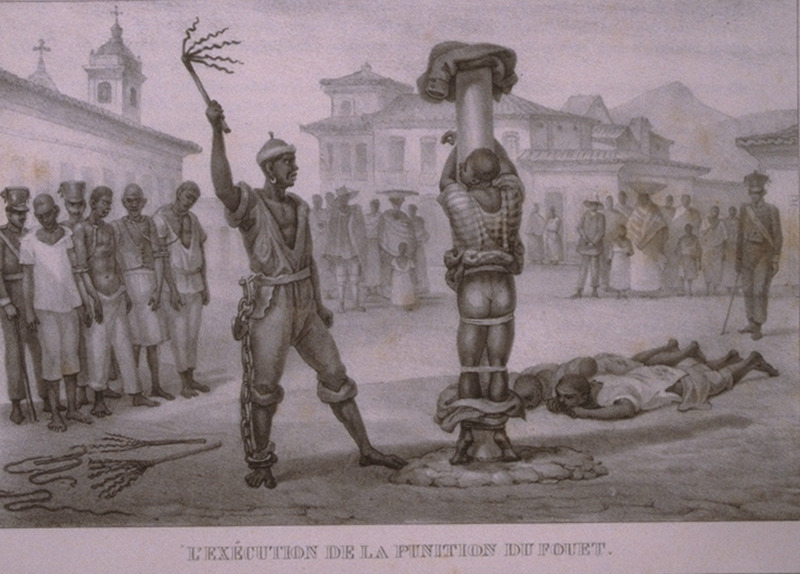 Caption, L'execution de la Punition du Fouet (executing the punishment of whipping/flogging); black man being whipped by public flogger in a town square; onlookers, others waiting to be flogged, soldiers guarding prisoners. The engravings in this book were taken from drawings made by Debret during his residence in Brazil from 1816 to 1831. For watercolors by Debret of scenes in Brazil, some of which were incorporated into his Voyage Pittoresque, see Jean Baptiste Debret, Viagem Pitoresca e Historica ao Brasil (Editora Itatiaia Limitada, Editora da Universidade de Sao Paulo, 1989; a reprint of the 1954 Paris edition, edited by R. De Castro Maya).