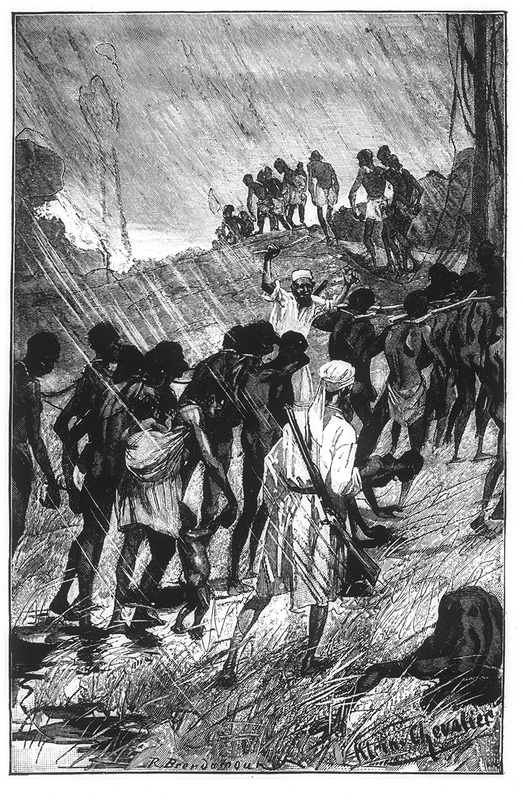 This engraving depicts Arab slavers leading a coffle during a rainstorm, while people were joined together by forked logs and chains. Hermann Wilhelm Leopold Ludwig Wissmann (1853–1905) was a German explorer and administrator in Africa, who traveled through the Congo River basin in the Central Interior. After, Wissmann served King Leopold II of Belgium and aided in the process of creating the Congo Free State.