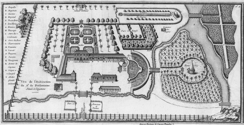 Titled, Vue de l'Habitation du Sr. de Prèfontaine, Situèe a Cayenne; consists of a detailed plan of the layout of Prèfontaine's very large plantation. Features on the plan are either named on the plan itself or marked by letters, identified on the legend on the left, e.g., the chapel, storehouse, kitchen, hospital, sugar mill. The rather sizeable slave village (cazes des negres) with its rectangular houses, is in the upper right hand corner; at the extreme right of the village is a small building, the Economat.