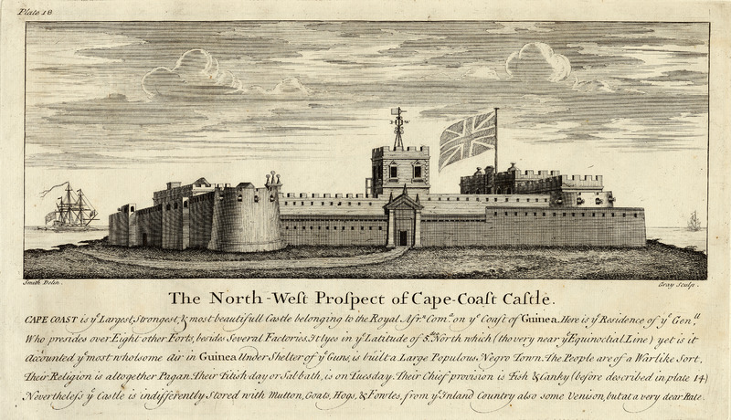 Titled, The North-West Prospect of Cape-Coast Castle. The caption notes that Cape Coast is ye largest, strongest, & most beautifull castle belonging to the Royal Afr[ican] Com[pany]. Details are given on the fort and its location, noting that under shelter of ye guns, is built a large populous Negro town. The people are of a warlike sort with comments about the diet and religion of the local population. Smith made his survey for the Royal African Company. See other images mariners on this website.