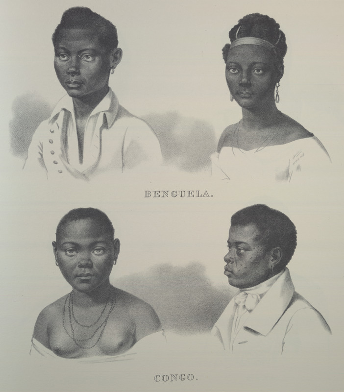 Men and women from Benguela and Congo. For an analysis of Rugendas' drawings, as these were informed by his anti-slavery views, see Robert W. Slenes, African Abrahams, Lucretias and Men of Sorrows: Allegory and Allusion in the Brazilian Anti-slavery Lithographs (1827-1835) of Johann Moritz Rugendas (Slavery & Abolition, vol. 23 [2002], pp. 147-168).
