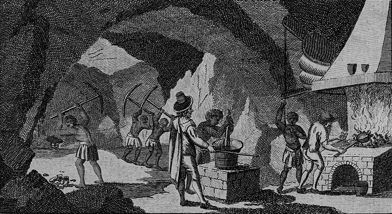 Captioned Slaves at Work in the Silver Mines of Peru, depicts several blacks wielding pick-axes to extract ore, another crushing the ore in a vessel, and a third working the bellows for a European smelter; a second European supervising.