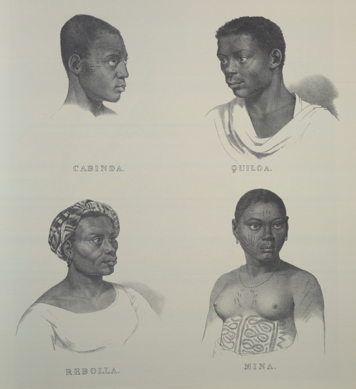 Four Africans representing different areas, showing facial and body decorations; clockwise from top left: cabinda, quiloa, rebolla, mina. For an analysis of Rugendas' drawings, as these were informed by his anti-slavery views, see Robert W. Slenes, African Abrahams, Lucretias and Men of Sorrows: Allegory and Allusion in the Brazilian Anti-slavery Lithographs (1827-1835) of Johann Moritz Rugendas (Slavery & Abolition, vol. 23 [2002], pp. 147-168).