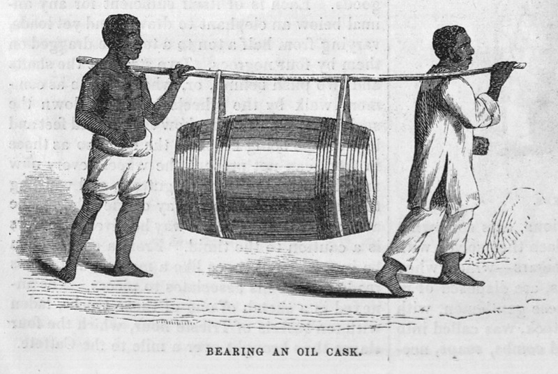"This illustration shows two enslaved men transporting a large barrel on their shoulders using a pole in Brazil. The oil is not identified. Ewbank reported how ""two Negroes passed me one day with a huge cask of oil suspended from a pole resting on their shoulders"" (p. 728). Thomas Ewbank (1792–1870) was an English writer on practical mechanics. In 1845–1846, he traveled to Brazil and on his return published an account of his travels. He was then appointed United States Commissioner of Patents by President Taylor in 1849. Harper's Magazine (also called Harper's) is a monthly magazine of literature, politics, culture, finance and the arts."