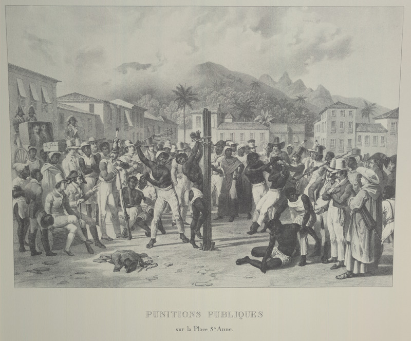 Caption, Punitions publique sur la place Ste. Anne (public punishment on St. Anne square); black whipping black with black and white onlookers. For an analysis of Rugendas' drawings, as these were informed by his anti-slavery views, see Robert W. Slenes, African Abrahams, Lucretias and Men of Sorrows: Allegory and Allusion in the Brazilian Anti-slavery Lithographs (1827-1835) of Johann Moritz Rugendas (Slavery & Abolition, vol. 23 [2002], pp. 147-168).